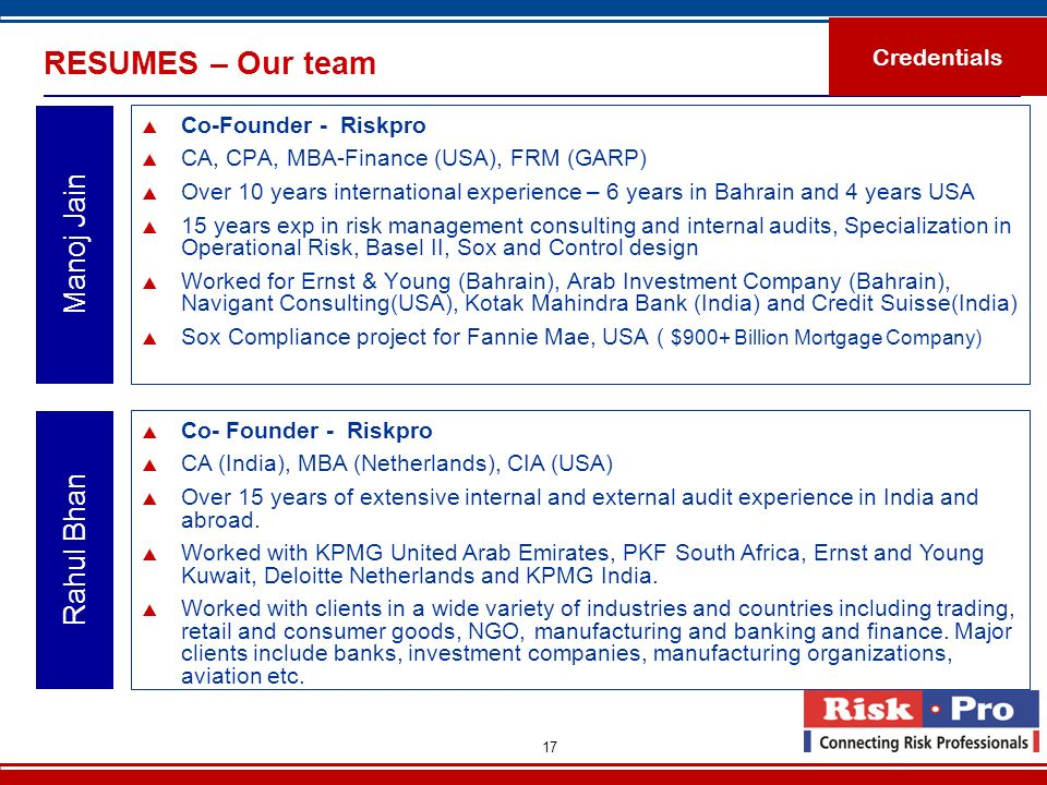 RESUMES – Our team Manoj Jain Rahul Bhan Credentials