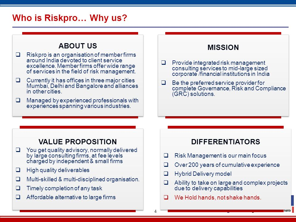 Who is Riskpro… Why us ABOUT US MISSION VALUE PROPOSITION