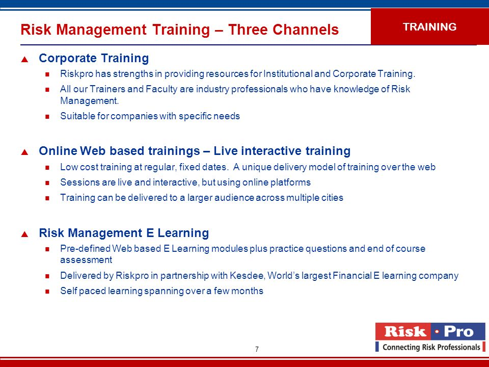 Risk Management Training – Three Channels