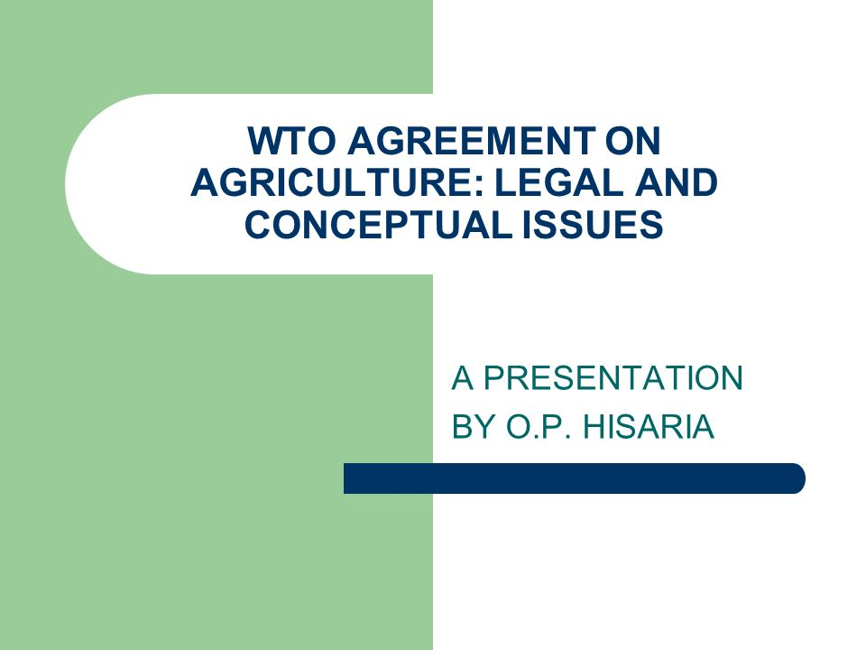 WTO AGREEMENT ON AGRICULTURE: LEGAL AND CONCEPTUAL ISSUES