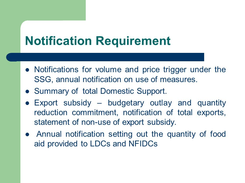 Notification Requirement