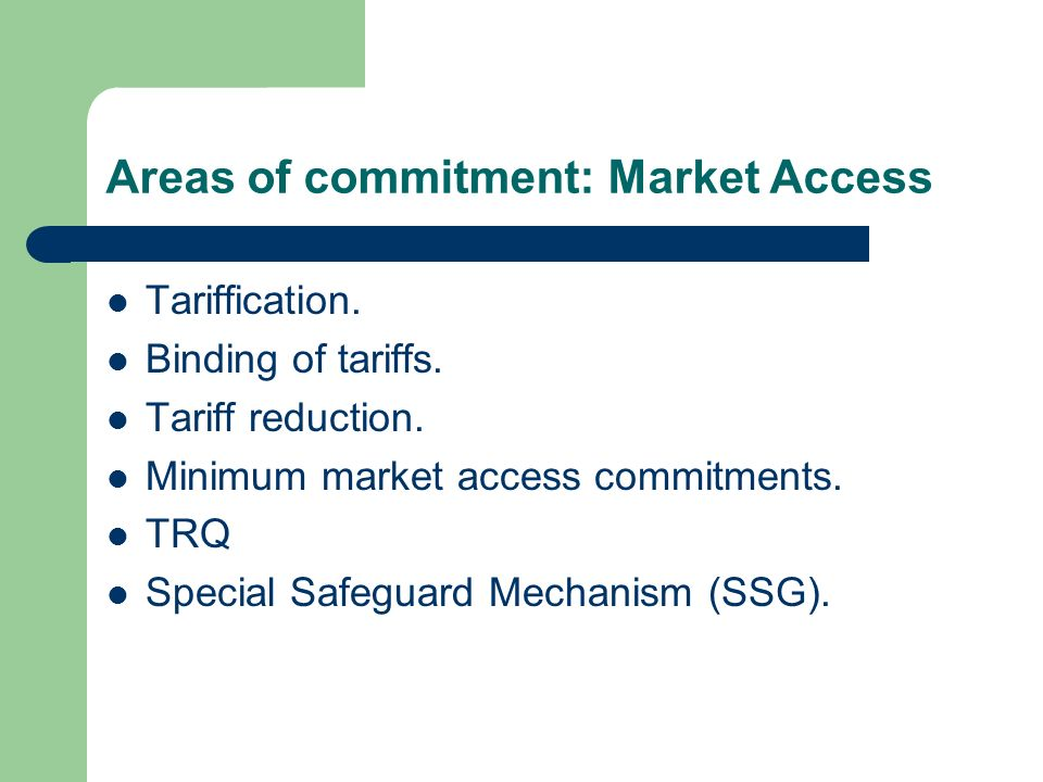Areas of commitment: Market Access