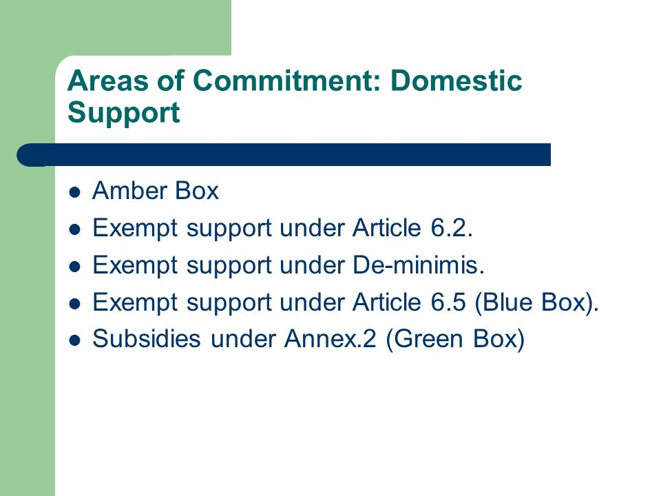 Areas of Commitment: Domestic Support