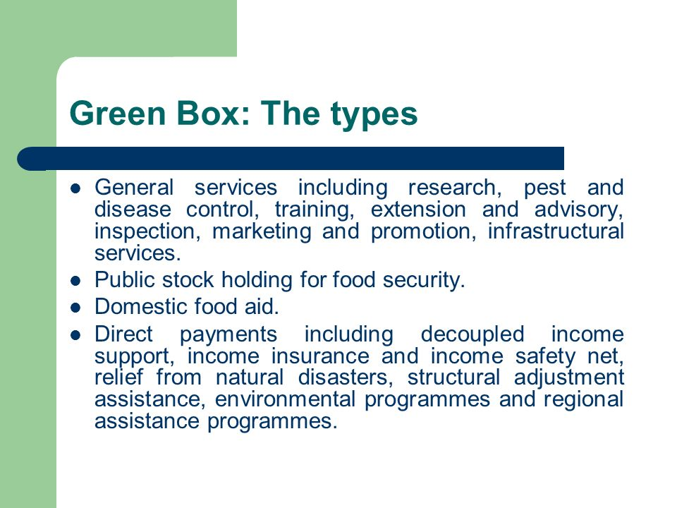 Green Box: The types