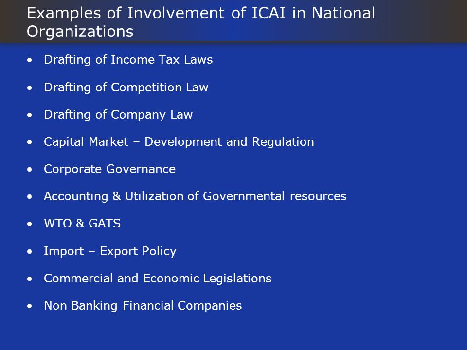 Examples of Involvement of ICAI in National Organizations