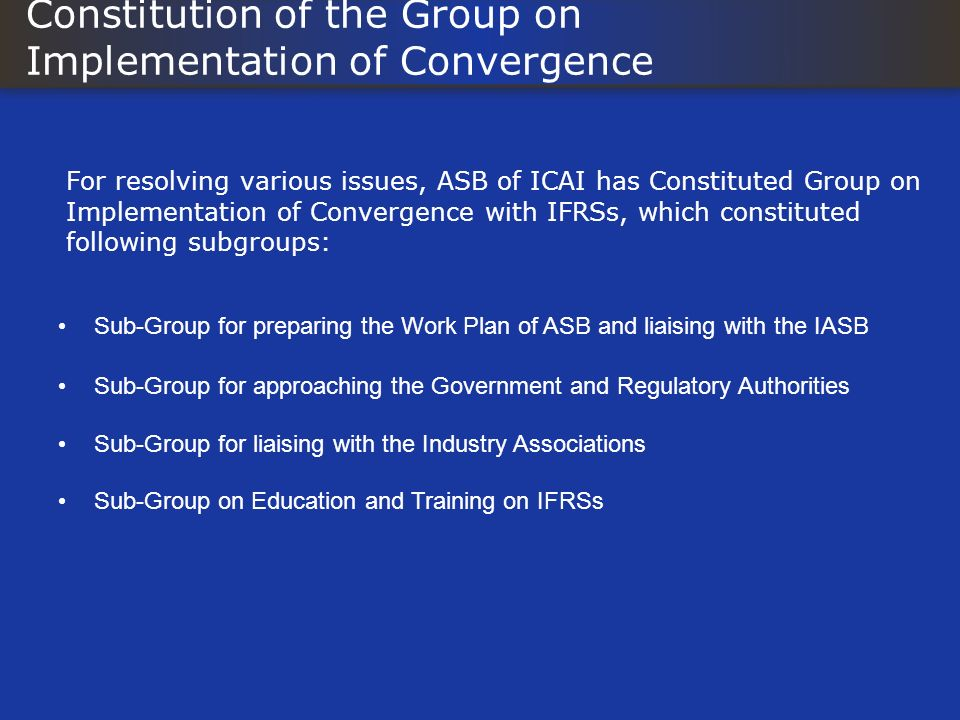 Constitution of the Group on Implementation of Convergence