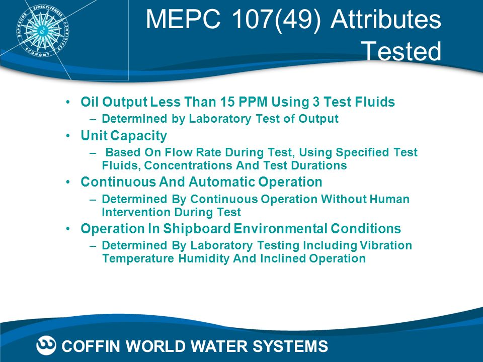 MEPC 107(49) Attributes Tested