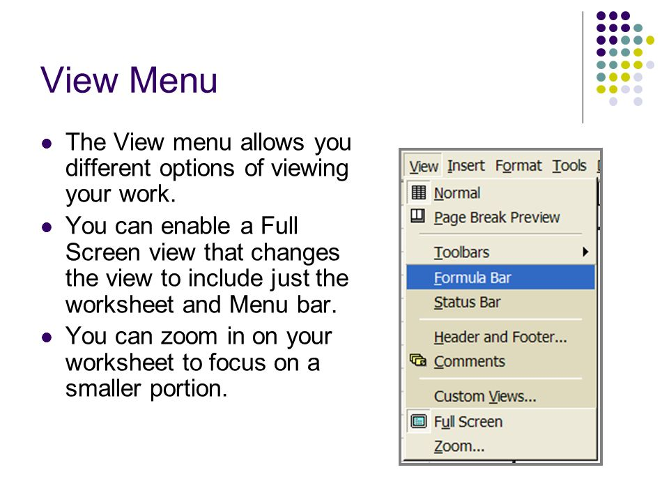 View Menu The View menu allows you different options of viewing your work.