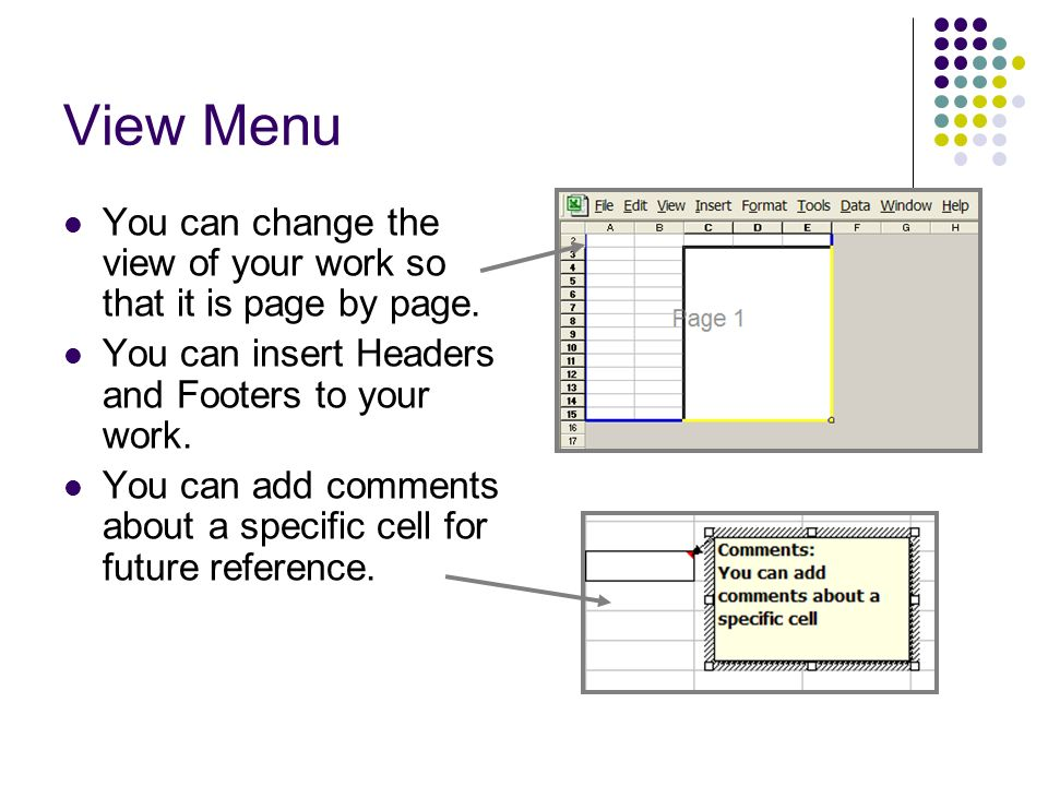 View Menu You can change the view of your work so that it is page by page. You can insert Headers and Footers to your work.