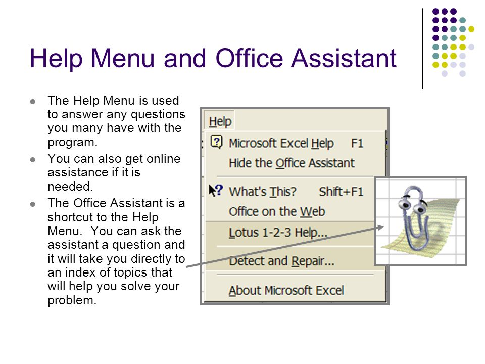 Help Menu and Office Assistant