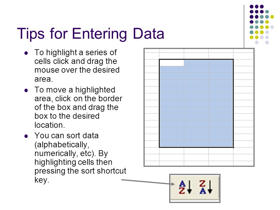 Tips for Entering Data To highlight a series of cells click and drag the mouse over the desired area.