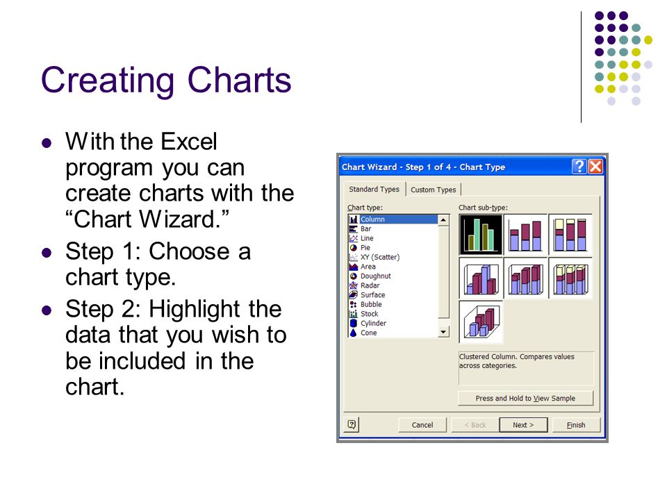 Creating Charts With the Excel program you can create charts with the Chart Wizard. Step 1: Choose a chart type.
