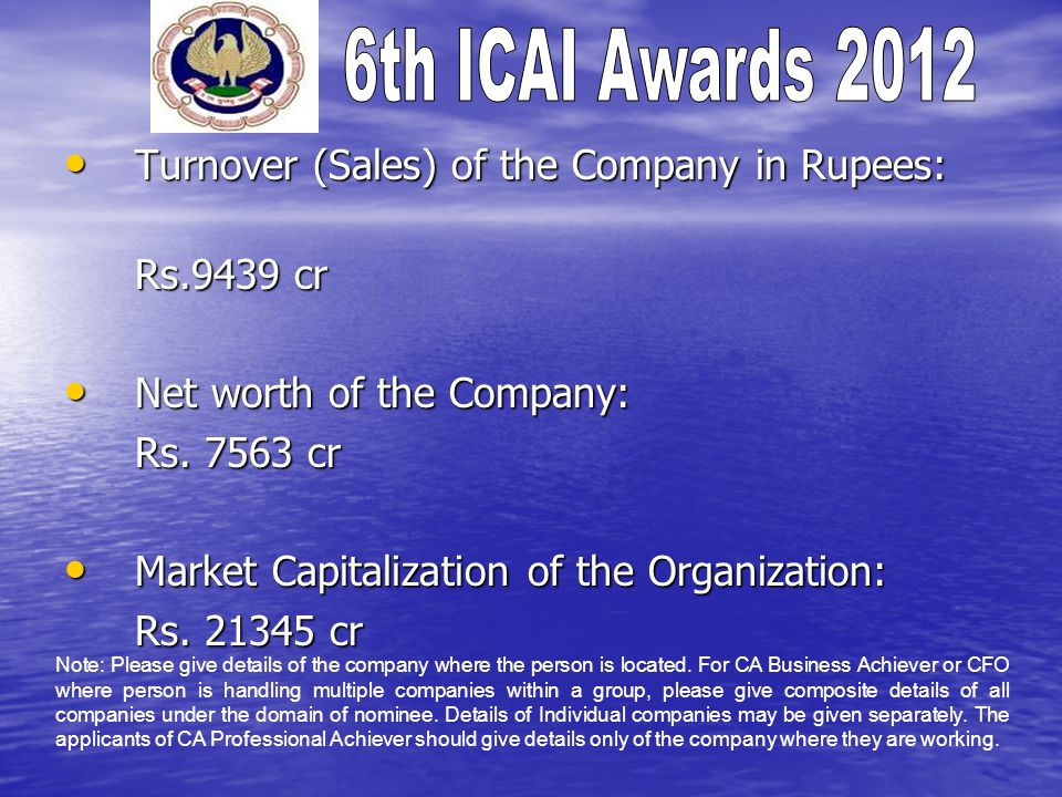 Turnover (Sales) of the Company in Rupees: Rs.9439 cr