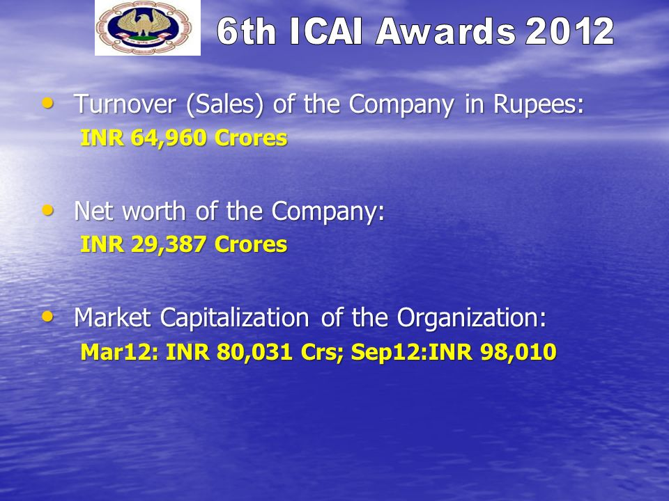 Turnover (Sales) of the Company in Rupees: