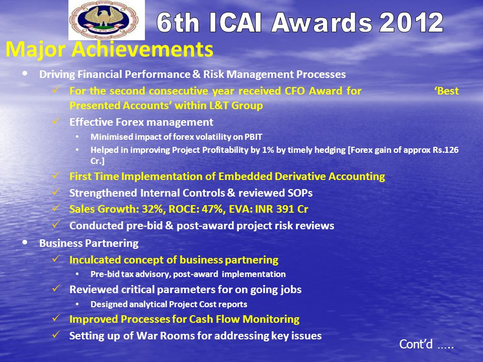 Major Achievements Driving Financial Performance & Risk Management Processes.