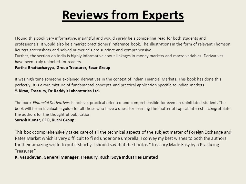 Reviews from ExpertsI found this book very informative, insightful and would surely be a compelling read for both students and.