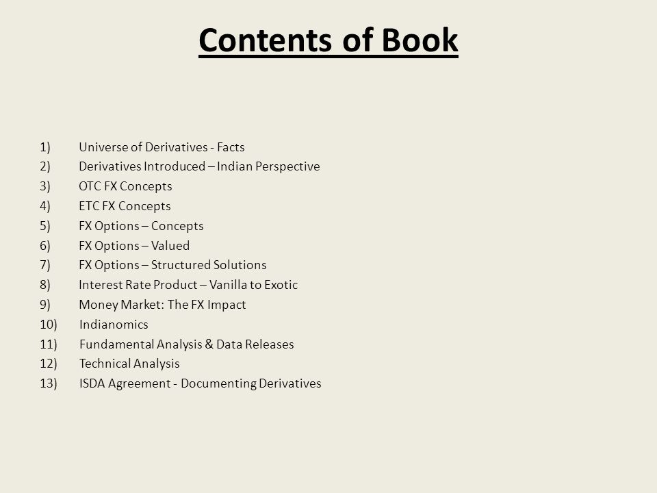 Contents of Book 1) Universe of Derivatives - Facts
