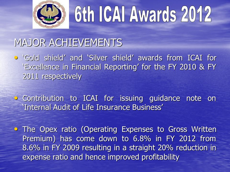 MAJOR ACHIEVEMENTS 'Gold shield' and 'Silver shield' awards from ICAI for 'Excellence in Financial Reporting' for the FY 2010 & FY 2011 respectively.