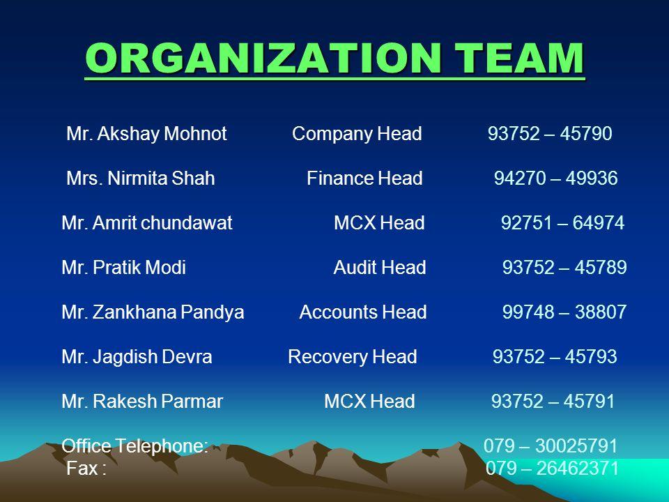 ORGANIZATION TEAM Mr. Akshay Mohnot Company Head 93752 – 45790