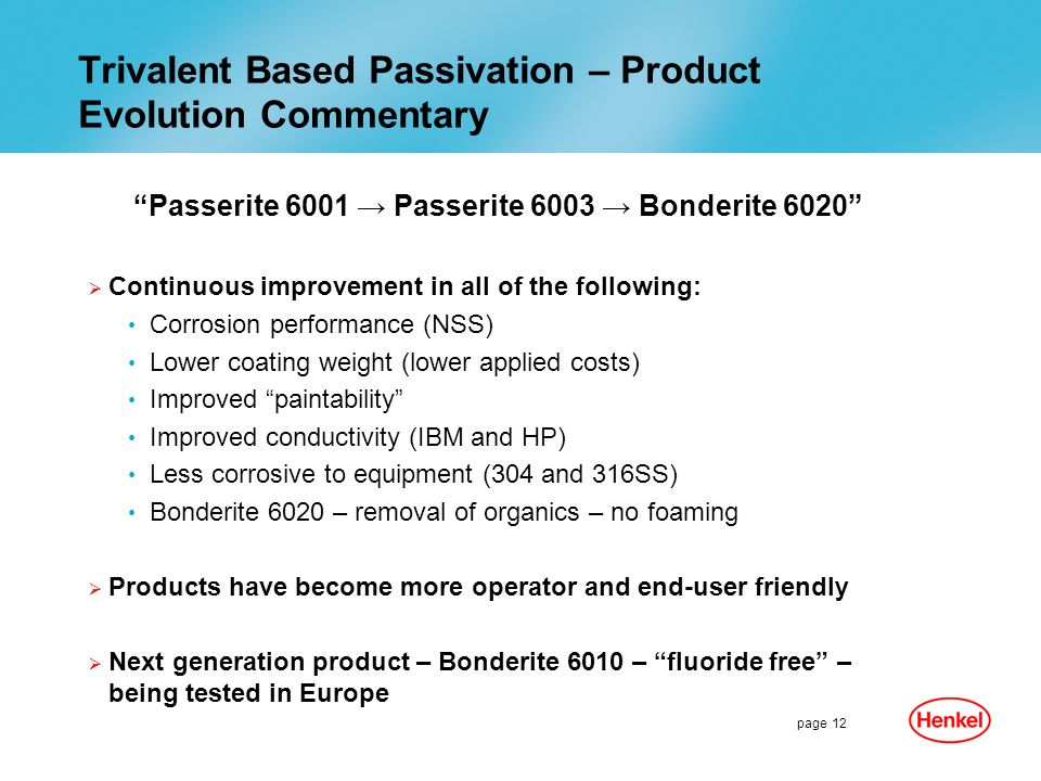 Trivalent Based Passivation – Product Evolution Commentary