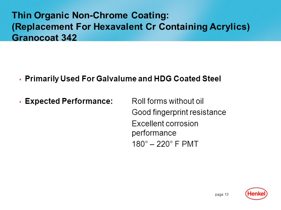 Thin Organic Non-Chrome Coating: (Replacement For Hexavalent Cr Containing Acrylics) Granocoat 342