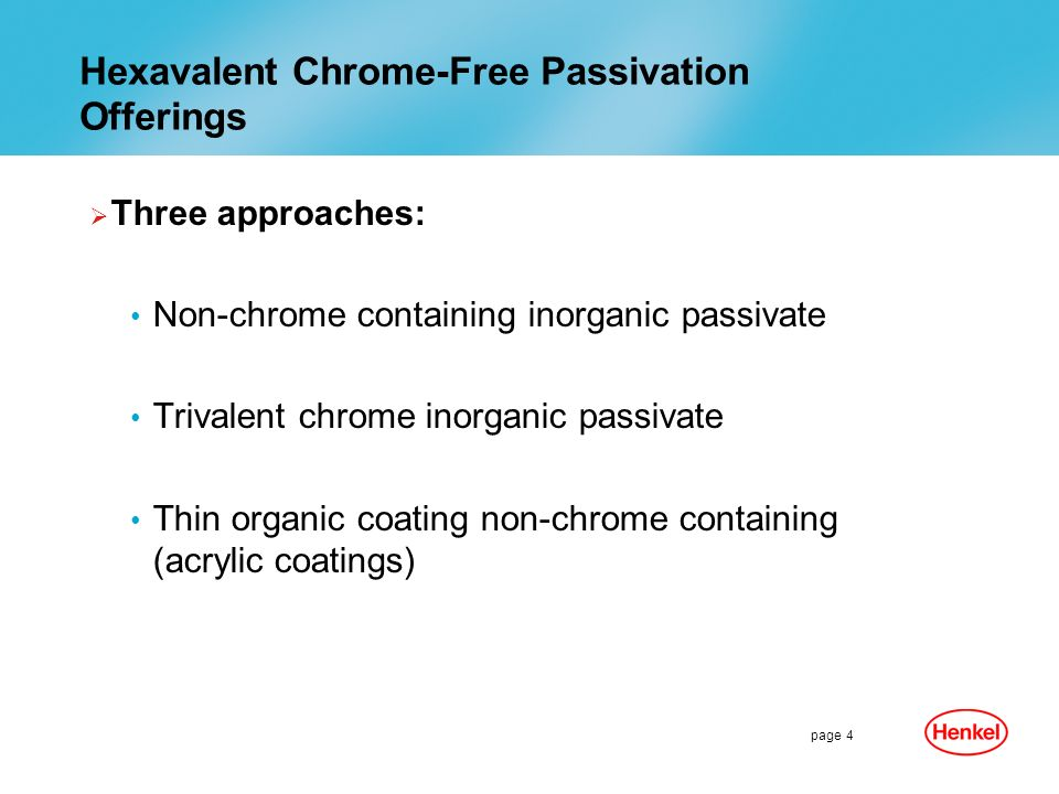 Hexavalent Chrome-Free Passivation Offerings