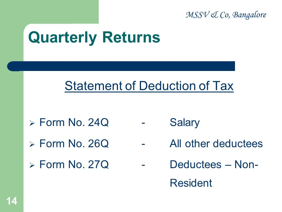 Statement of Deduction of Tax