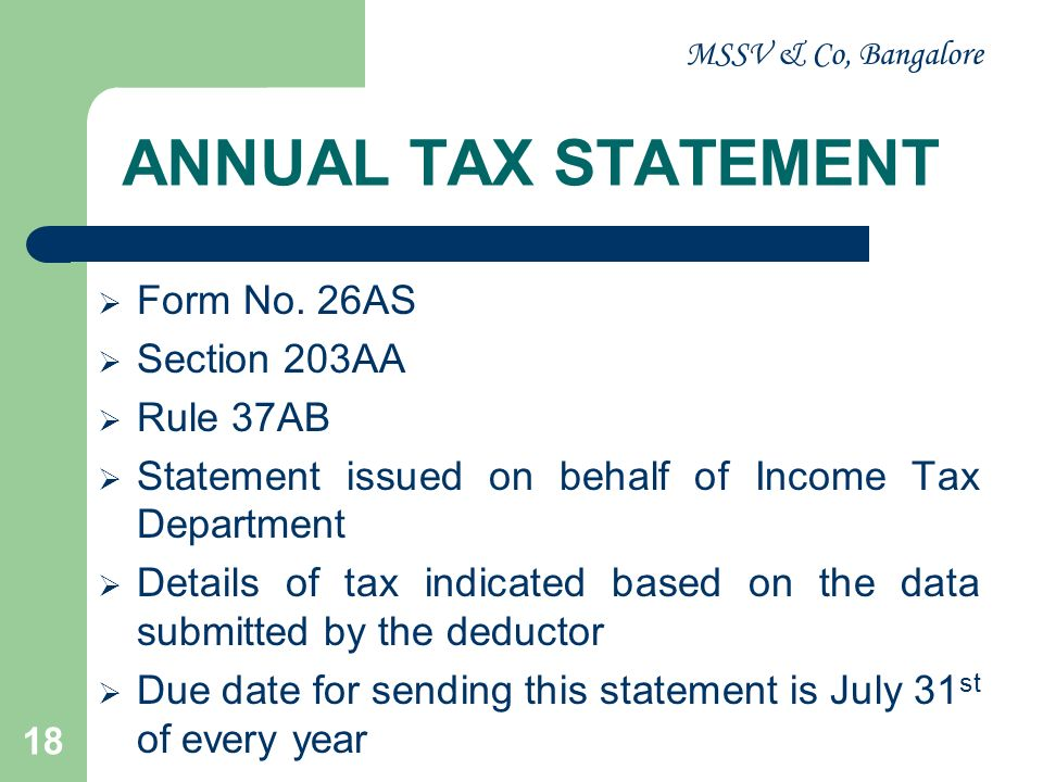 ANNUAL TAX STATEMENT Form No. 26AS Section 203AA Rule 37AB
