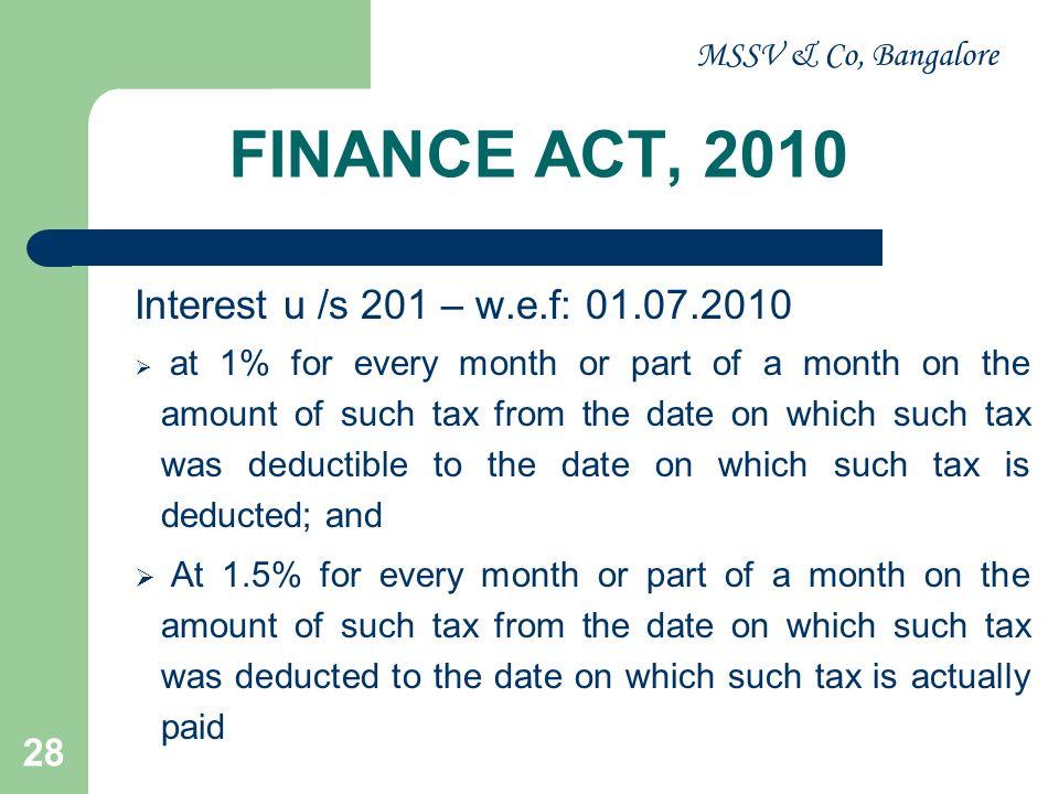 FINANCE ACT, 2010 Interest u /s 201 – w.e.f: 01.07.2010