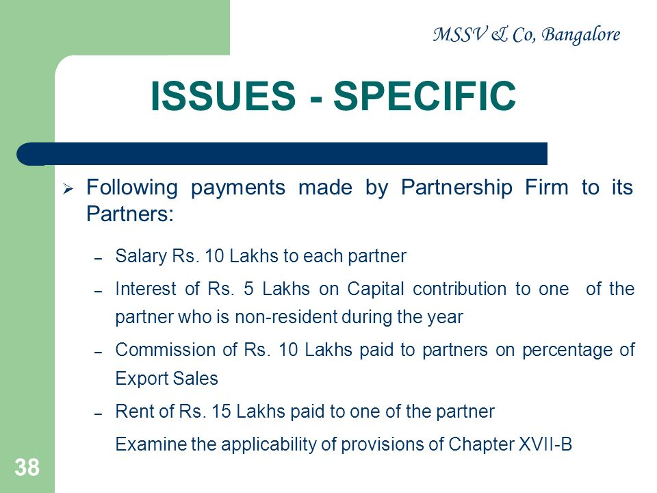 ISSUES - SPECIFIC MSSV & Co, Bangalore