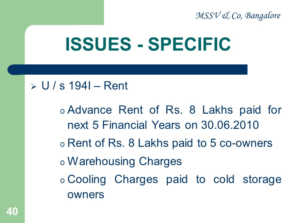 ISSUES - SPECIFIC U / s 194I – Rent