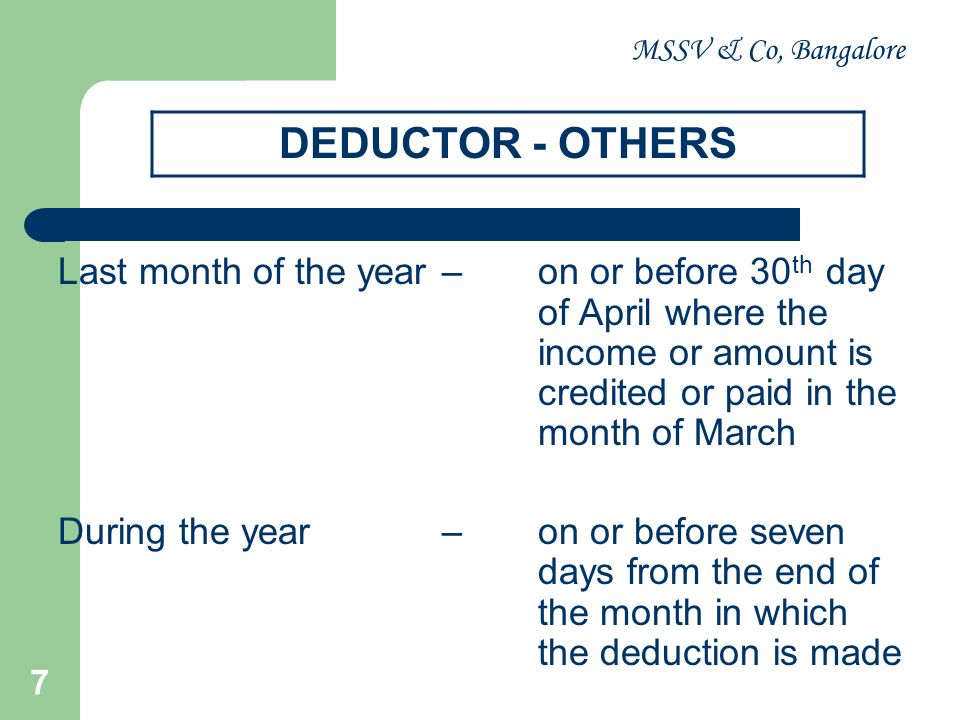 MSSV & Co, Bangalore DEDUCTOR - OTHERS.