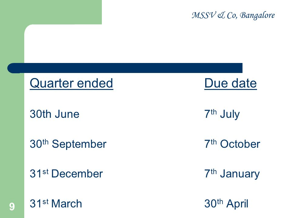 Quarter ended Due date 30th June 7th July 30th September 7th October