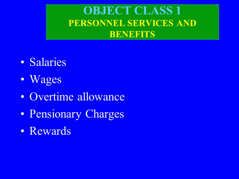 OBJECT CLASS 1 PERSONNEL SERVICES AND BENEFITS