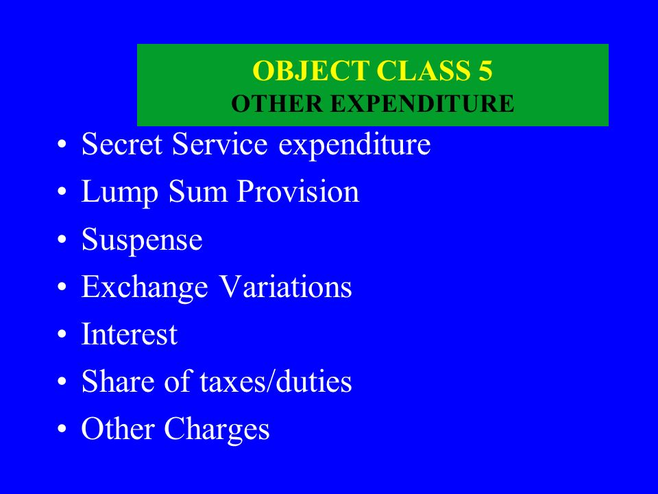 OBJECT CLASS 5 OTHER EXPENDITURE
