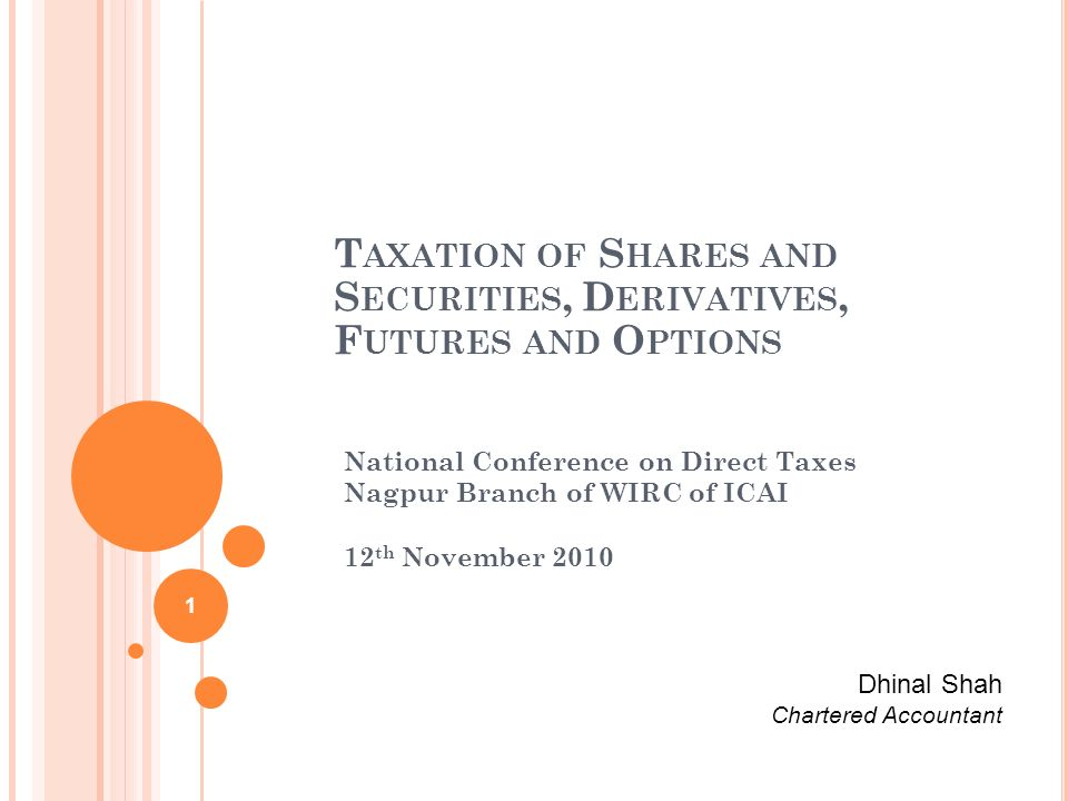 Taxation of Shares and Securities, Derivatives, Futures and Options