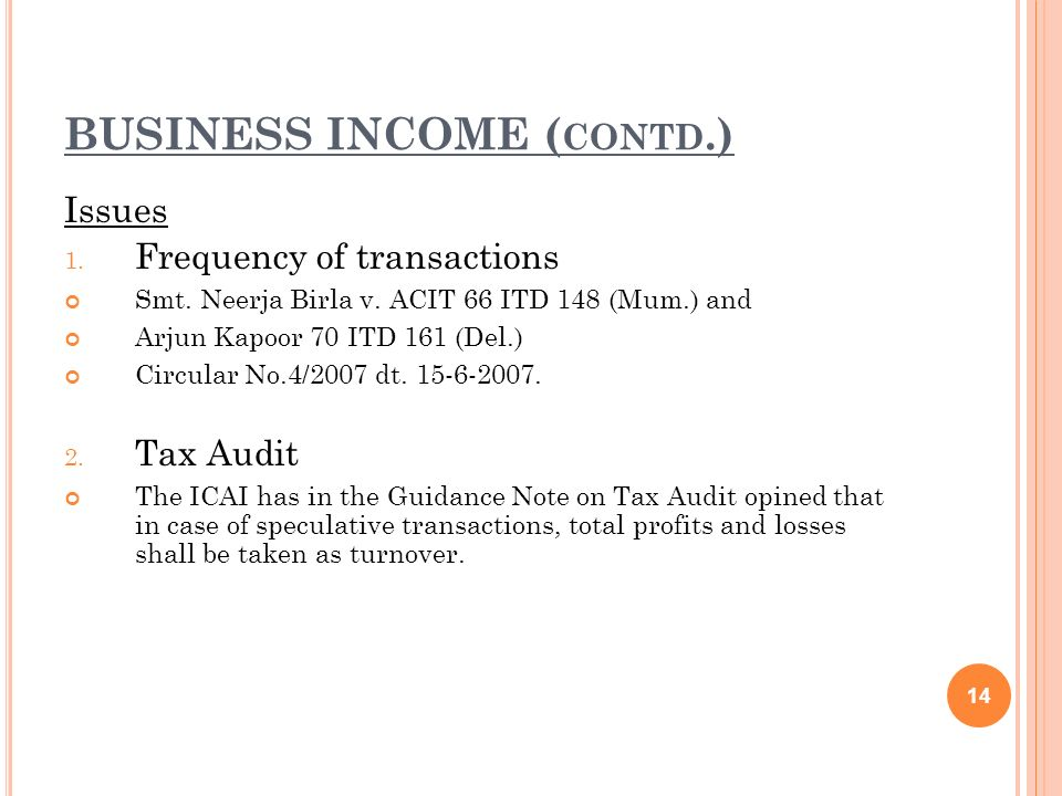 BUSINESS INCOME (contd.)