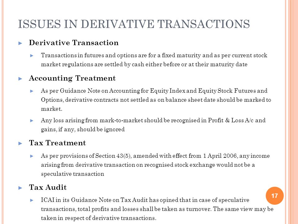 ISSUES IN DERIVATIVE TRANSACTIONS