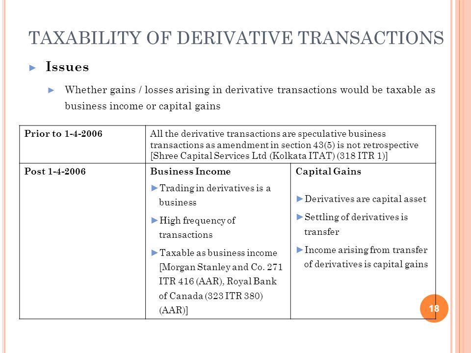 TAXABILITY OF DERIVATIVE TRANSACTIONS