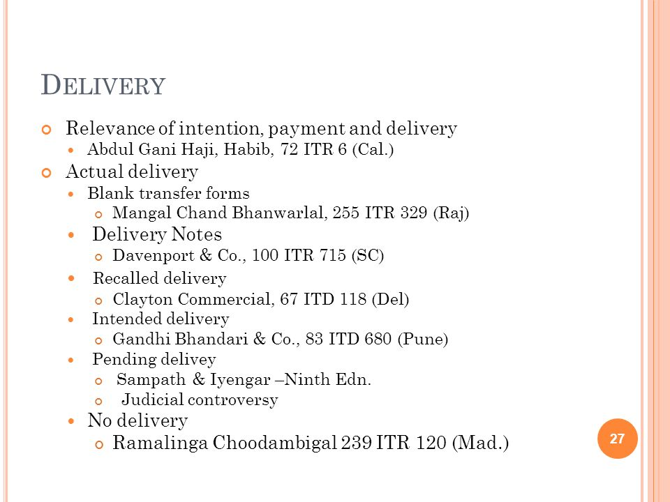 Delivery Recalled delivery