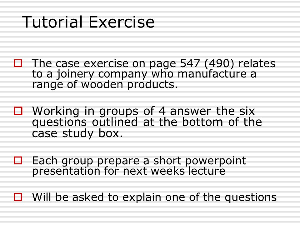 CASE STUDY Action Plan for Defining EXERCISE My Case