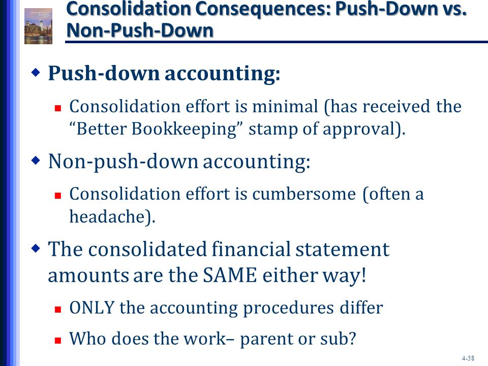 push down accounting Push-down accounting comes into play when one company purchases another this technique involves putting the purchase costs on the books of the company being acquired, rather than the company doing the acquiring private companies aren't required to practice push-down accounting, but you may find.