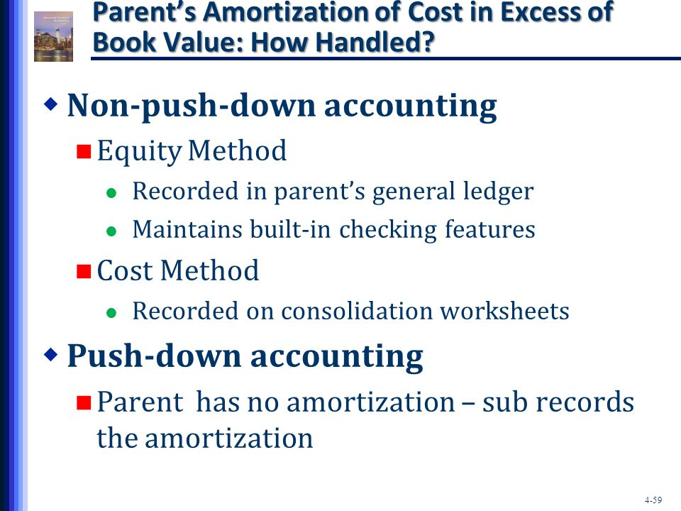push down accounting 12012018 method of accounting in which the financial statements of a subsidiary are presented to reflect the costs incurred by the parent company in buying the.