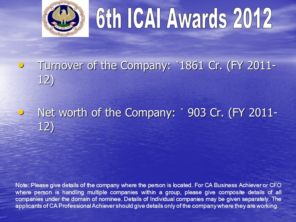 Turnover of the Company: `1861 Cr. (FY 2011-12)