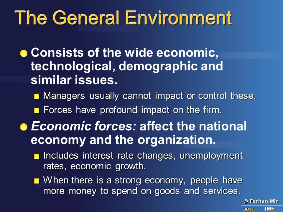 the general environment includes demographic trends The six segments of the general environment are demographic, sociocultural, political/legal, technological, economic, and global [1] in contrast to michael porter 's five forces analysis .