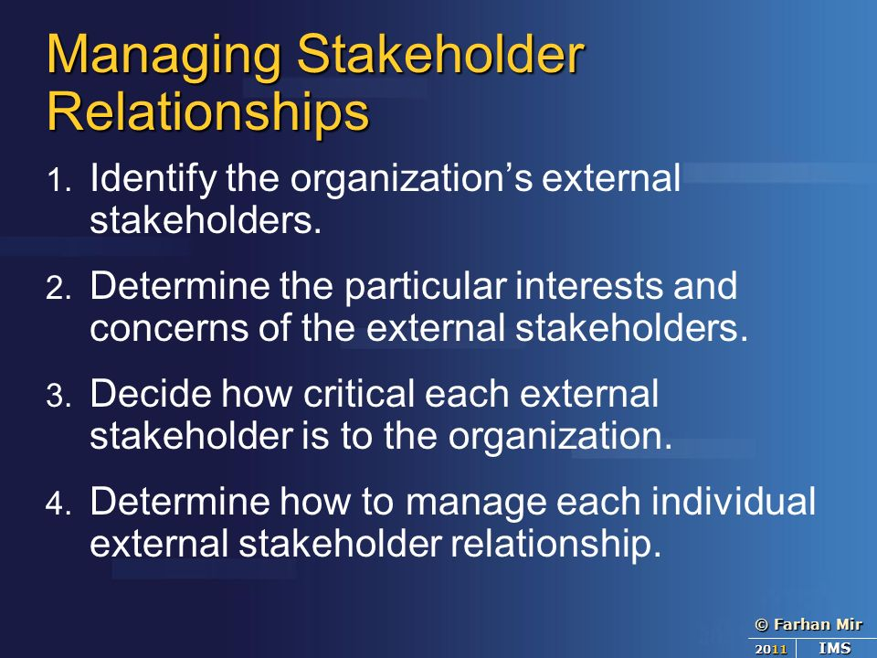 managing stake holders relationship