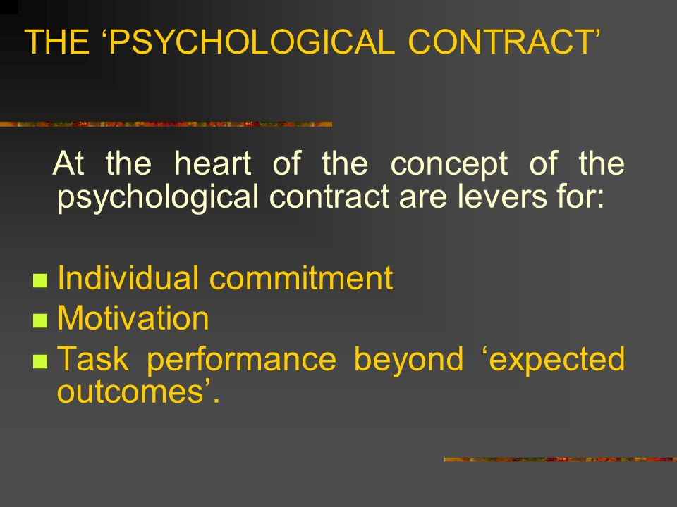 motivation vs psychological contract A study on factors affecting employees' psychological contract and its impact on employee motivation in bhel edn, bangalore by george, jensmon read preview.