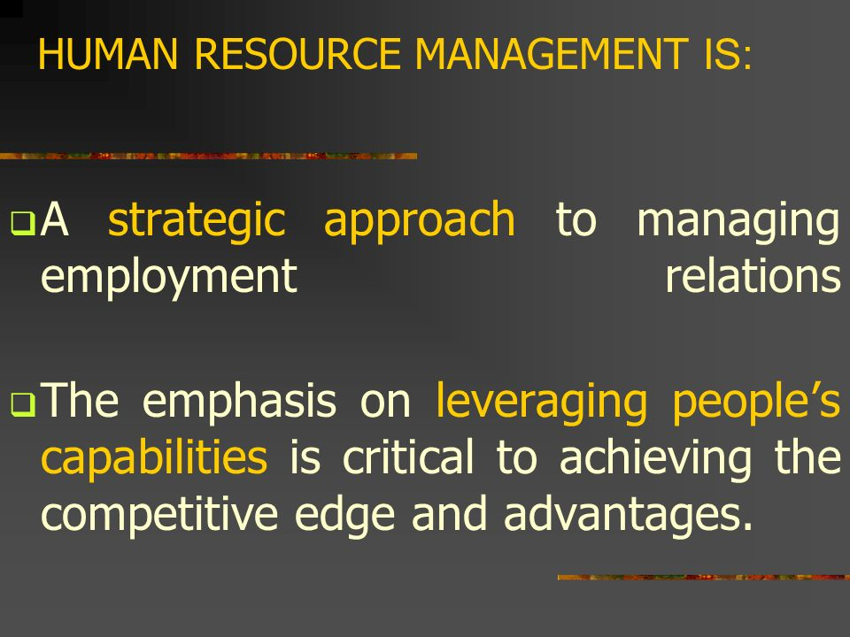 hrm approach to managing the employment relationship