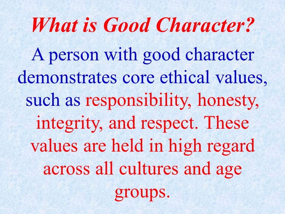 What is Good Character