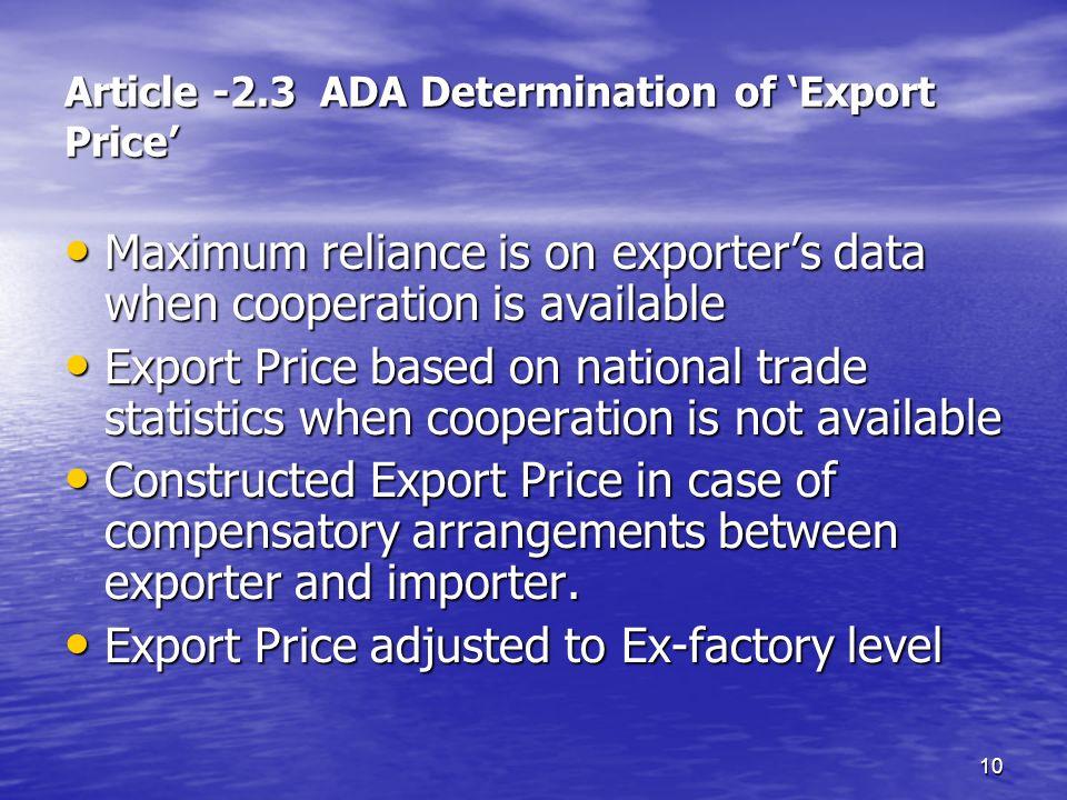 Article -2.3 ADA Determination of 'Export Price'